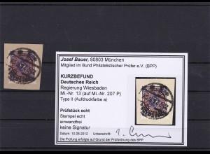 Deutsches Reich: Regierung Wiesbaden,MiNr. 13, Type II,a, gestempelt, BPP Befund