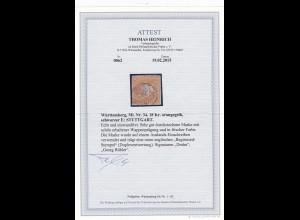 Württemberg: MiNr. 34, gestempelt Stuttgart, BPP Attest