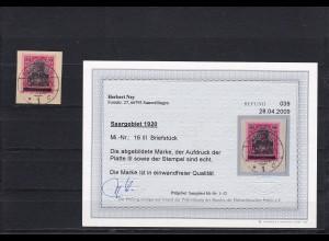 Saargebiet: MiNr. 16 III auf Briefstück, 1920, Platte III, BPP Befund