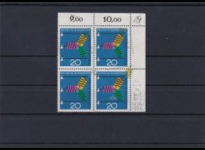 Bund: MiNr. 521, postfrisch: Doppeldruck im Eckrand Viererblock