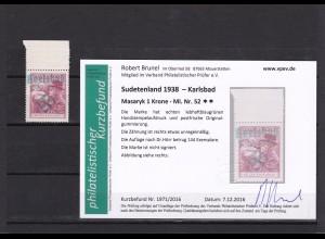 Sudetenland: MiNr. 52b, Karlsbad, **, postfrisch