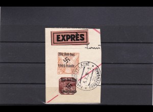 Sudetenland: MiNr. 22,34, gestempelt, Briefausschnitt, Franzensbad 1938