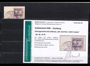 Sudetenland: MiNr. 19, gestempelt, wir sind frei, Rumburg