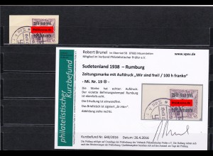 Sudetenland: MiNr. 19, gestempelt, Rumburg