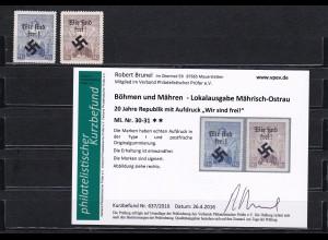 Sudetenland: MiNr. 30-31, postfrisch **, Type I, Wir sind frei, Mährisch-Ostrau