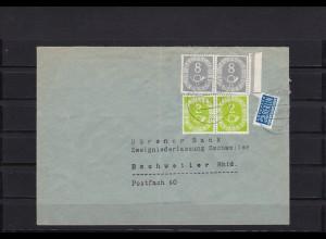 Bund: Posthorn MiNr. 127 Schneideanlage auf Brief