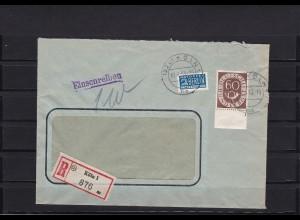 Bund: Posthorn MiNr. 135 Plattennummer auf Brief
