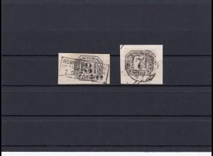 NDP: MiNr. D8-9, gestempelt, Briefstücke