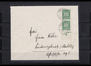 Deutsches Reich: MiNr. 356U, auf Brief, senkr. Unterrandstück, BPP Attest