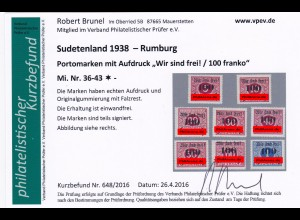 Sudetenland Rumburg, MiNr. 36-43, *
