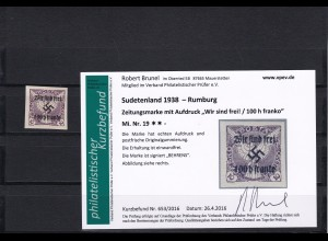 Sudetenland Rumburg, MiNr. 19, postfrisch