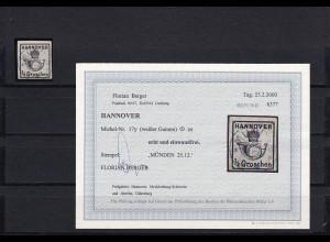 Hannover: MiNr. 17y, gestempelt, BPP Befund