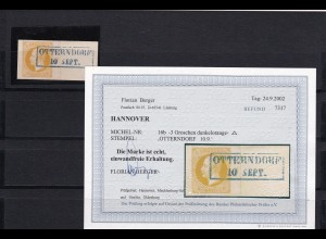 Hannover: MiNr. 16b gestempelt Otterndorf, BPP Befund