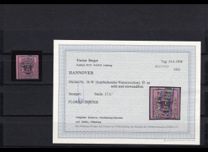 Hannover: MiNr. 3b W gestempelt, BPP Befund