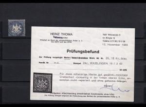 Württemberg: MiNr. 20, gestempelt Waiblingen, BPP Befund