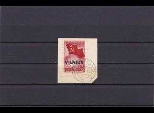 Litauen: MiNr. 17 IV, gestempelt, linker Bogenrand, Briefstück Vilnius