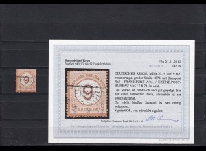 DR: MiNr. 30a, BPP Befund, gestempelt, Eisenbahn Post
