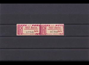 DDR: Einschreibemarke SbPA, 1057 Berlin, waagrechtes Paar, Nr. 1 Cx