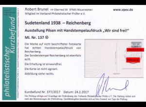 Sudetenland: Reichenberg MiNr. 137, gestempelt auf Karte