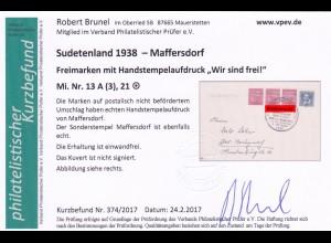 Sudetenland: Maffersdorf, MiNr. 13A, 21, auf Drucksache Brief