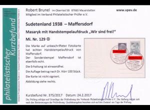 Sudetenland: Maffersdorf, MiNr. 129, gestempelt auf Karte Henlein Geburtshaus
