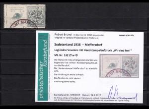 Sudetenland: Maffersdorf MiNr. 132 Zf w, gestempelt