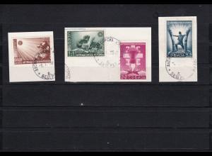 Serbien: MiNr. 58-61 I, gestempelt auf Briefstücken