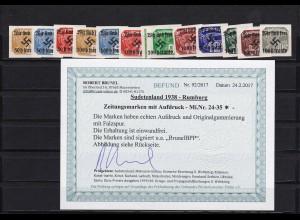 Sudetenland: Zeitungsmarken: Rumburg: MiNr. 24-35, *