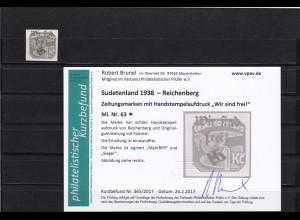 Sudetenland: Zeitungsmarken: Reichenberg, MiNr. 63*