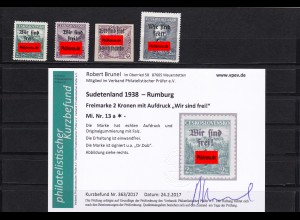 Sudetenland: Rumburg, MiNr. 13a, 16, 19, 50, *