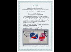 Sudetenland: MiNr. 44-45 A K, gestempelt, Handstempel Reichenberg