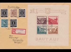 SBZ - Thüringen MiNr. Block 4 ay (I/III), gestempelt auf Brief, BPP Attest