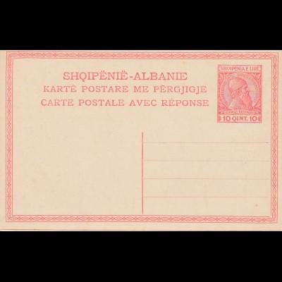 Albanien: Ganzsache avec reponse, Doppelkarte-double card