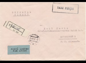 Albanien: 1952: Registered, par Avion, to Leverkusen- Taxe Percue