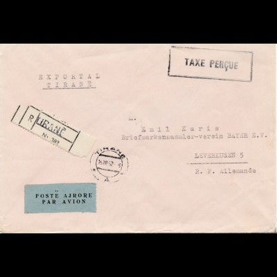 Albanien: 1952: Registered, par Avion, to Leverkusen- Taxe Percue