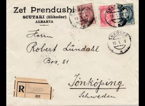 Albanien: 1928: Scutari/Shkoder to Sweden-registered