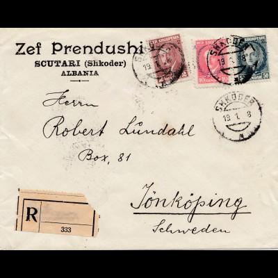 Albanien: 1928: Scutari/Shkoder to Sweden-registered