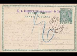 Albanien: Ganzsache KuK Feldpostamt-Landsturminfanterieregiment 1916