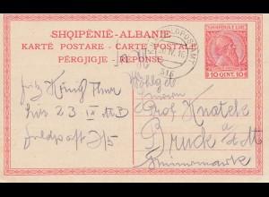 Albanien: 1916: Ganzsache KuK Feldpostamt-Landsturminfanterieregiment