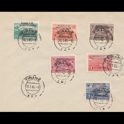 Albanien: 1945, Tirane FDC: 396-401