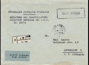Albanien: 1951: Taxe Percue, Tirane nach Leverkusen, registered