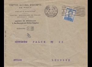 Belgien: 1914 Brief von Bruxelles nach Luzern (Suisse), Perfin