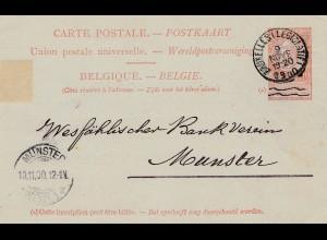 Belgien: 1900: Ganzsache von Bruxelles nach Münster, Perfin C.L.