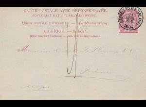 Belgien: 1894: Ganzsache Bruxelles, Perfin C.L.