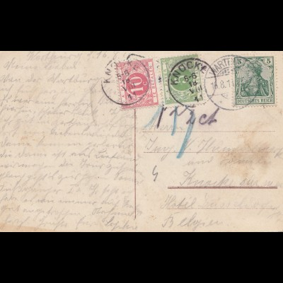 Belgien: 1911: Ansichtskarte Wartburg - Nach Taxe: Knocke