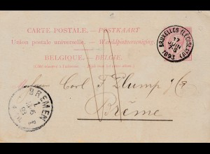 Belgien: 1893 Ganzsache Belgien nach Bremen