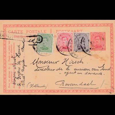 Belgien: 1919: Ganzsache aus Belgien nach Holland