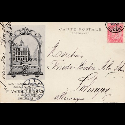 1904: carte postale Bruxelles to Solingen (Germany)