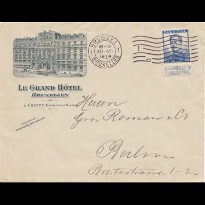 Belgien: 1914: Bruxelles/Grand Hotel to Berlin