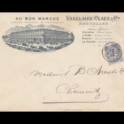 Belgien: 1901: Letter from Bruxelles to Chemnitz-Au Bon Marche